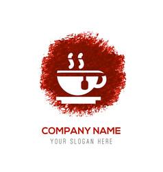 Warm drink icon - red watercolor circle splash vector