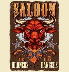 Wild west saloon advertising poster vector