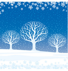 Winter landscape trees vector
