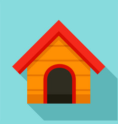Wood dog house icon flat style vector