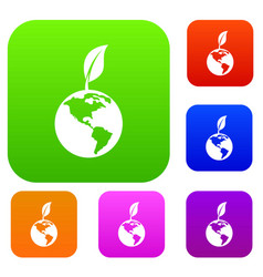 green world qlobe with leaf set collection vector image