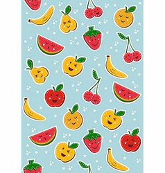 Happy fruits pattern background vector
