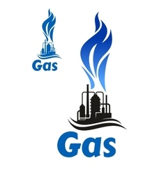 Industrial plant with natural gas flame vector image vector image