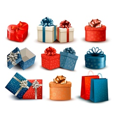 Set of colorful retro gift boxes with bows and vector image vector image