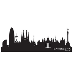 Barcelona Spain skyline Detailed silhouette vector image