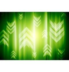 Green neon light with tech arrows vector