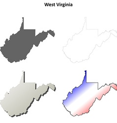West Virginia outline map set vector image vector image