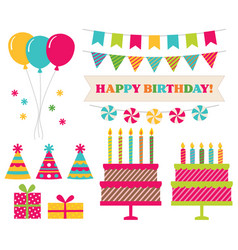 birthday party collection isolated elements vector image vector image