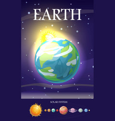 earth planet sun system universe vector image