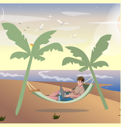 freelancer summer vacation work vector image vector image