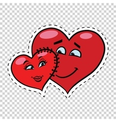 Love couple heart Valentine sewn to each other vector image