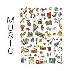 music instrument set sketch for your design vector image
