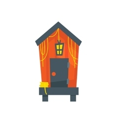 Red Beach Cabin With Lantern vector image