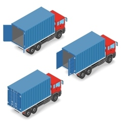 Red truck with shipping containers on board vector image vector image