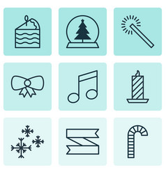 set of 9 new year icons includes lollipop fire vector image