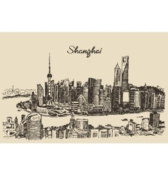 Shanghai City architecture China vintage sketch vector image
