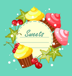 sweet cupcakes card vector image