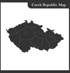 the detailed map of the czech republic vector image