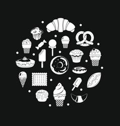 white sweet desserts vector image