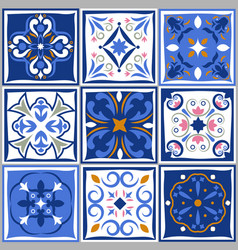 Ceramic tiles vintage patterns spanish vector