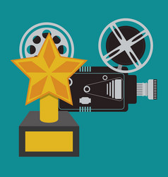 cinema camera film and award trophy vector image