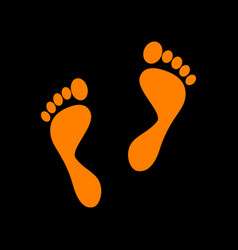 foot prints sign orange icon on black background vector image