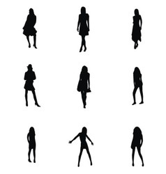 Girl Silhouette Set vector image