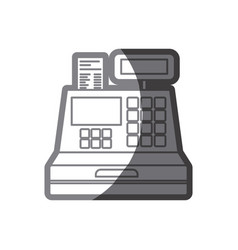 Grayscale silhouette of cash register vector