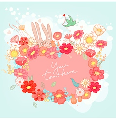 Greeting card with bunny vector image