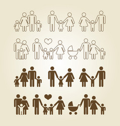 Line and outline family icons set vector