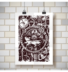 steampunk time machine vector image vector image