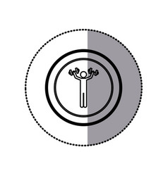 sticker of monochrome pictogram of man with vector image