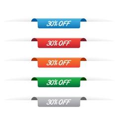 30 percent off paper tag labels vector image