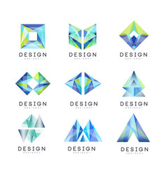 Abstract logo design set gem geometric badge vector