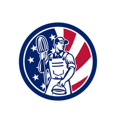 American professional cleaner usa flag icon vector