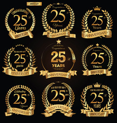anniversary golden retro laurel wreath vector image