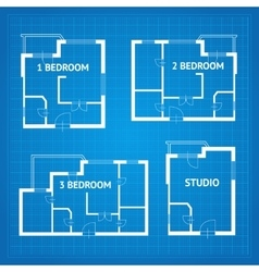 Apartment Floor Plan Set Blueprint vector image