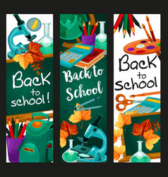 Back to school lesson stationery banners vector