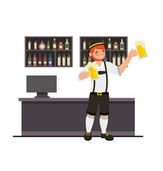 bavarian man holding two beer in the bar vector image