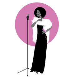 Beautiful and elegant jazz singer isolated vector