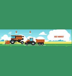 best harvest banner tractor combine in field vector image