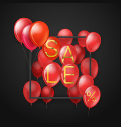 big sale concept flying red balloons on dark vector image