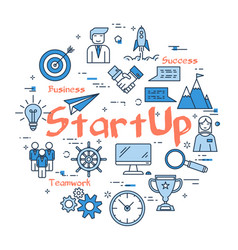 blue round startup concept vector image