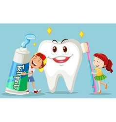 Boy and girl with clean tooth vector image