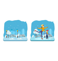Boy with mom in winter clothes ride on ice vector