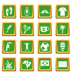 Brazil travel symbols icons set green vector