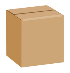Brown sealed square box mockup realistic style vector