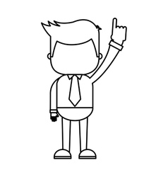 Businessman funny with hands up character icon vector