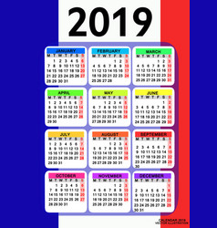 calendar 2019 with flag of france vector image