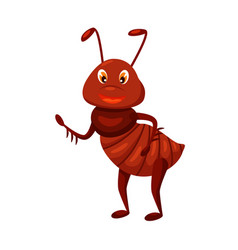Cartoon ant waving isolated on white background vector